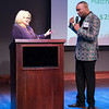 Carol Rognrud, Crittenton Board Chair of Investments and Executive Director of the Montgomery College Foundation, with Aaron Myers, Crittenton Board Secretary and emcee for Crittenton's 129th Anniversary Celebration.