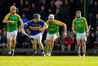 Kiladangan's Willie Connors in possession watched by Toomevara's Robbie Quirke, Jake Ryan and Mark McCarthy in the Tipperary Senior Hurling Quarter final in Cloughjordan