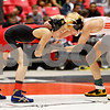 Huntley Middle School's Rory Burright (right) wrestles Ethan Spacht of Bradley Central on Saturday, March 10 in the IESA 75-pound championship match.<br /> <br /> Sarah Minor - For Shaw Media
