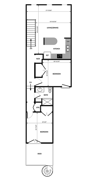 Top of plan is T St side, bottom is alleyway side. With the bedrooms at the back it is rather quiet despite being a block from the 14/U hub!