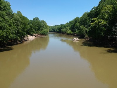 View of Staunton River at the property.  The big rock marks the location of the old bridge