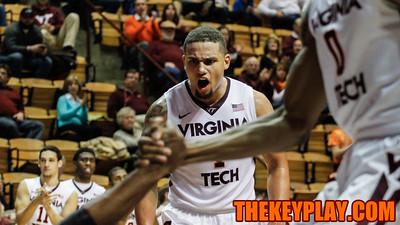 Malik Muller yells in celebration after Virginia Tech earns a hard foul. (Mark Umansky/TheKeyPlay.com)
