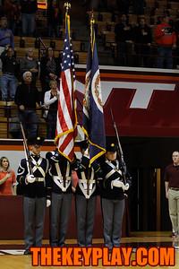The Virginia Tech Corps of Cadets Color Guard. (Mark Umansky/TheKeyPlay.com)