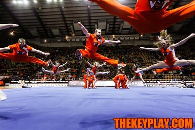 The Virginia Tech cheerleaders performed their national routine at halftime. (Mark Umansky/TheKeyPlay.com