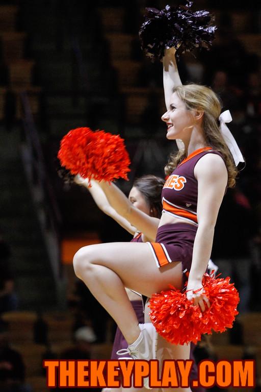 Virginia Tech cheerleaders entertain the crowd during a TV timeout. (Mark Umansky/TheKeyPlay.com