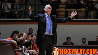 Syracuse head coach Jim Boeheim holds up his hands in complaint after a Syracuse foul. (Mark Umansky/TheKeyPlay.com)