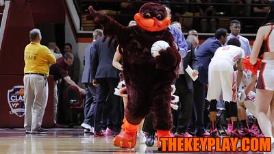 The Hokiebird presents a game ball to one of Virginia Tech basketball's corporate sponsors during a TV timeout. (Mark Umansky/TheKeyPlay.com)