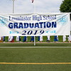 The 149th graduation exercise for Leominster High School was held on Saturday, June 1, 2019 at Doyle Field. Graduates parade onto the field by a graduation sign on the field. SENTINEL & ENTERPRISE/JOHN LOVE