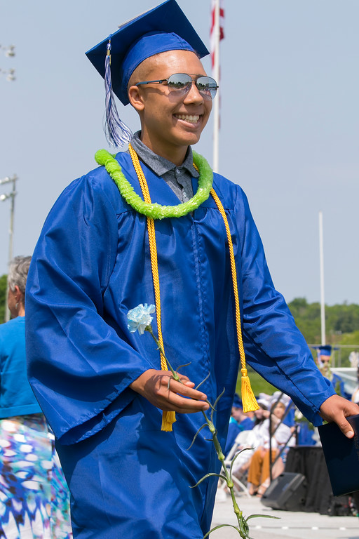 . The 149th graduation exercise for Leominster High School was held on Saturday, June 1, 2019 at Doyle Field. Graduate Jaydon Kinuthia is all smiles after he got his diploma. SENTINEL & ENTERPRISE/JOHN LOVE