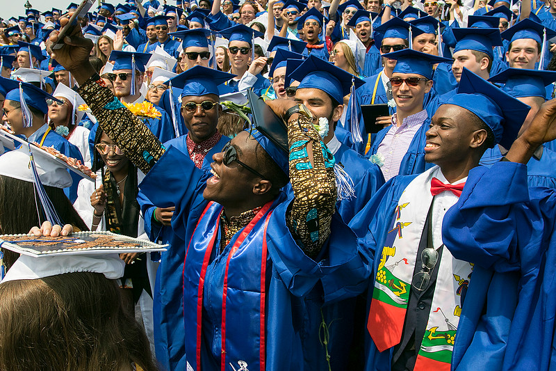 The 149th graduation exercise for Leominster High School was held on Saturday, June 1, 2019 at Doyle Field. Graduate Lucas Adjei, in shades, tries to take a selfie with his fellow classmates at the end of the ceremony. SENTINEL & ENTERPRISE/JOHN LOVE