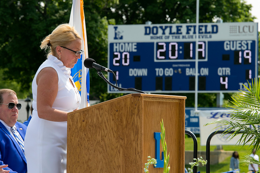 . The 149th graduation exercise for Leominster High School was held on Saturday, June 1, 2019 at Doyle Field. Leominster School Districts Superintendent Paula Deacon addresses the graduates and their loved ones at the ceremony. SENTINEL & ENTERPRISE/JOHN LOVE