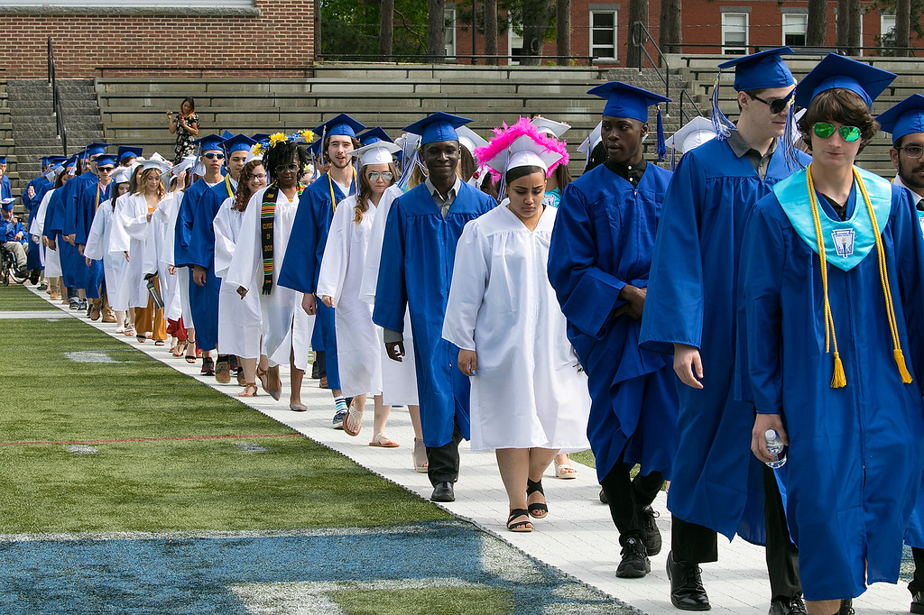 . The 149th graduation exercise for Leominster High School was held on Saturday, June 1, 2019 at Doyle Field. Graduates parade onto the field to start the ceremony. SENTINEL & ENTERPRISE/JOHN LOVE