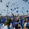The 149th graduation exercise for Leominster High School was held on Saturday, June 1, 2019 at Doyle Field. Caps fly high at the end of the ceremony. SENTINEL & ENTERPRISE/JOHN LOVE