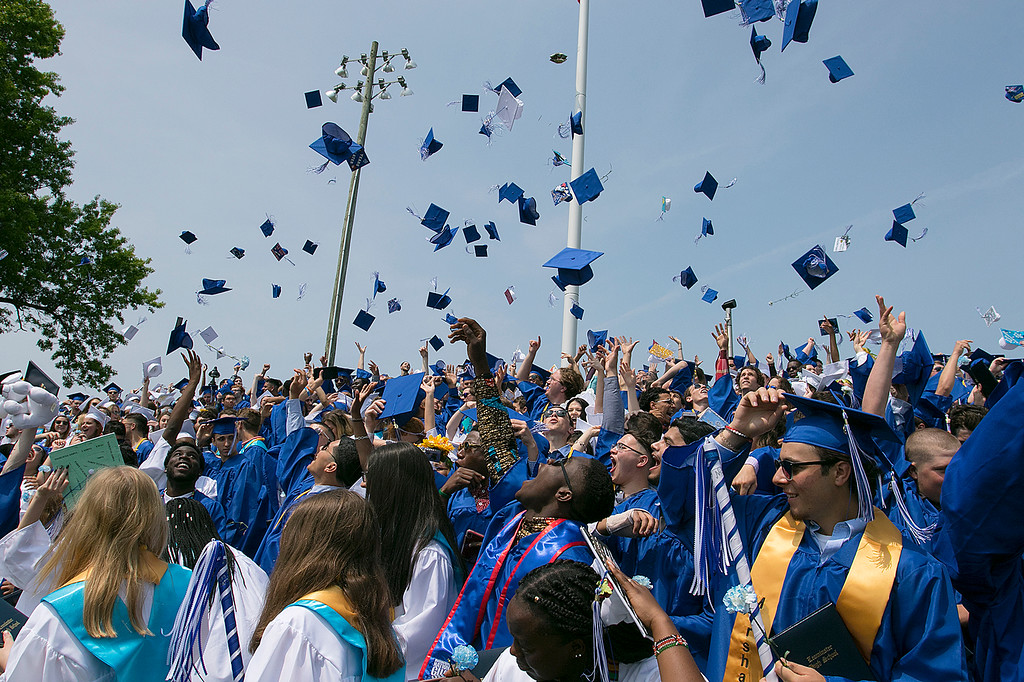 . The 149th graduation exercise for Leominster High School was held on Saturday, June 1, 2019 at Doyle Field. Caps fly high at the end of the ceremony. SENTINEL & ENTERPRISE/JOHN LOVE
