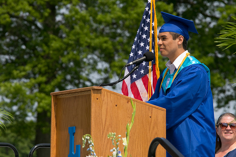 The 149th graduation exercise for Leominster High School was held on Saturday, June 1, 2019 at Doyle Field. Class Valedictorian Eric Peter Jenny addresses the graduates and their loved ones during the ceremony. SENTINEL & ENTERPRISE/JOHN LOVE