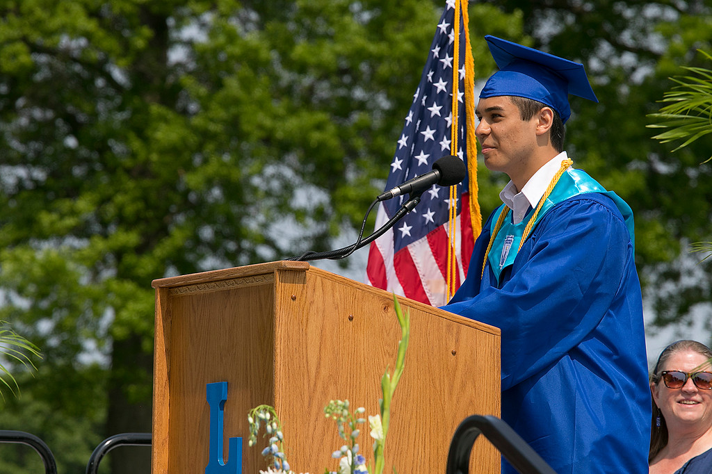 . The 149th graduation exercise for Leominster High School was held on Saturday, June 1, 2019 at Doyle Field. Class Valedictorian Eric Peter Jenny addresses the graduates and their loved ones during the ceremony. SENTINEL & ENTERPRISE/JOHN LOVE