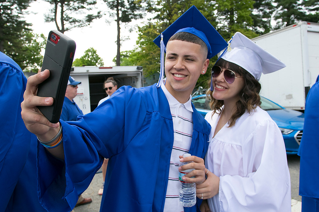 . The 149th graduation exercise for Leominster High School was held on Saturday, June 1, 2019 at Doyle Field. Graduates Nelson Diaz and Nyasia Diaz, cousins, take a picture together just before the start of the ceremony. SENTINEL & ENTERPRISE/JOHN LOVE