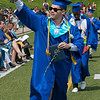 The 149th graduation exercise for Leominster High School was held on Saturday, June 1, 2019 at Doyle Field. Graduate Gabe Elias waves to his loved ones after he got his diploma. SENTINEL & ENTERPRISE/JOHN LOVE