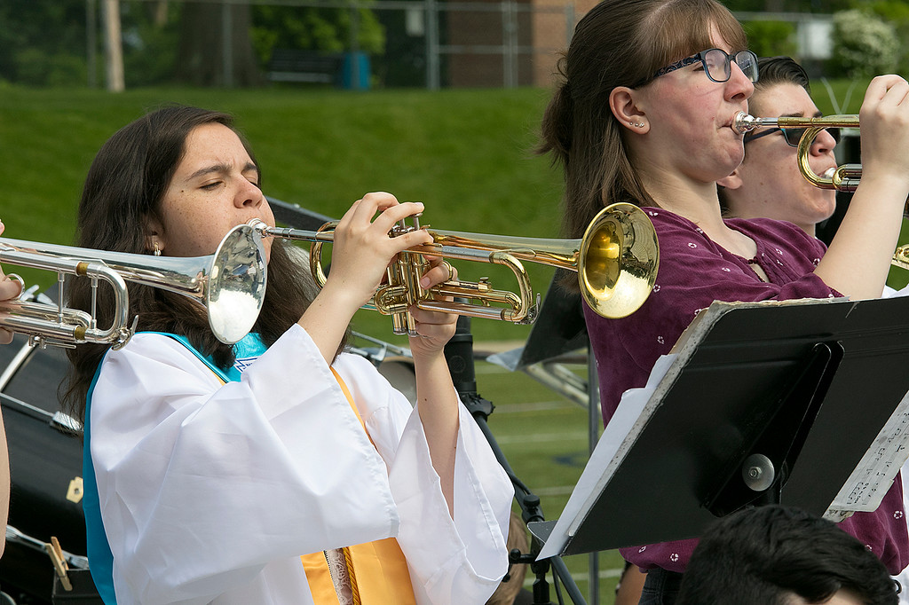 . The 149th graduation exercise for Leominster High School was held on Saturday, June 1, 2019 at Doyle Field. helping to entertain the crowd before the ceremony started is graduate Vice President of the class Claire Higginson.  SENTINEL & ENTERPRISE/JOHN LOVE