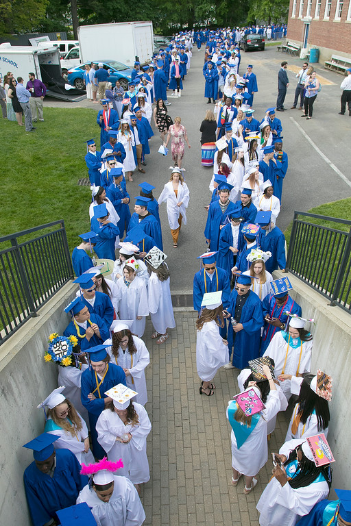 . The 149th graduation exercise for Leominster High School was held on Saturday, June 1, 2019 at Doyle Field. Leominster Graduates line up to start the ceremony. SENTINEL & ENTERPRISE/JOHN LOVE