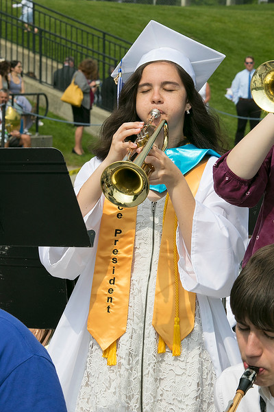 The 149th graduation exercise for Leominster High School was held on Saturday, June 1, 2019 at Doyle Field. helping to entertain the crowd before the ceremony started is graduate Vice President of the class Claire Higginson.  SENTINEL & ENTERPRISE/JOHN LOVE