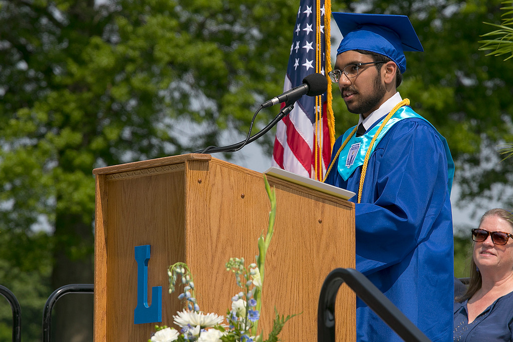. The 149th graduation exercise for Leominster High School was held on Saturday, June 1, 2019 at Doyle Field. Class Salutatorian Smit Ganpat Patel addresses the graduates and their loved ones during the ceremony. SENTINEL & ENTERPRISE/JOHN LOVE