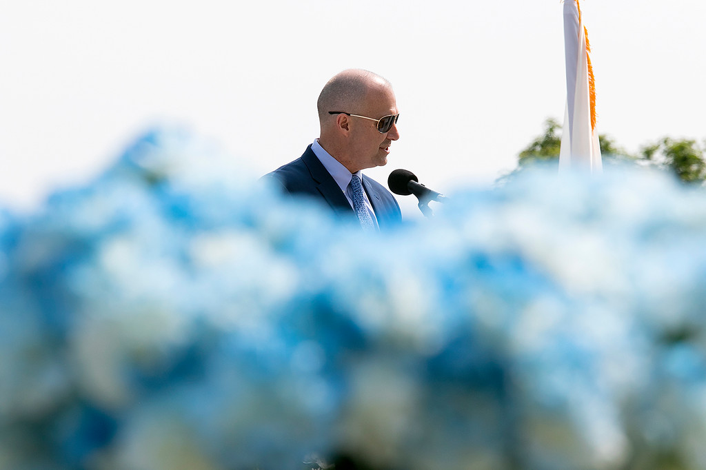 . The 149th graduation exercise for Leominster High School was held on Saturday, June 1, 2019 at Doyle Field. LHS Principal Steven Dubzinski addresses the graduates and their loved ones at the ceremony. SENTINEL & ENTERPRISE/JOHN LOVE