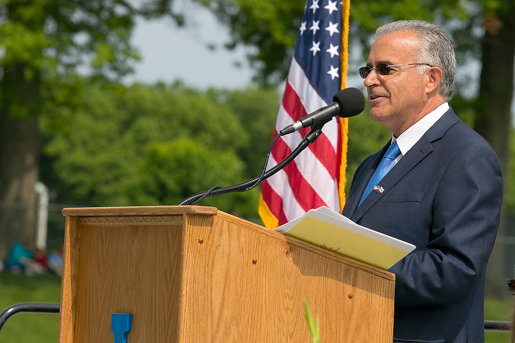 . The 149th graduation exercise for Leominster High School was held on Saturday, June 1, 2019 at Doyle Field. Leominster Mayor Dean Mazzarella addresses the graduates and their loved ones during the ceremony. SENTINEL & ENTERPRISE/JOHN LOVE