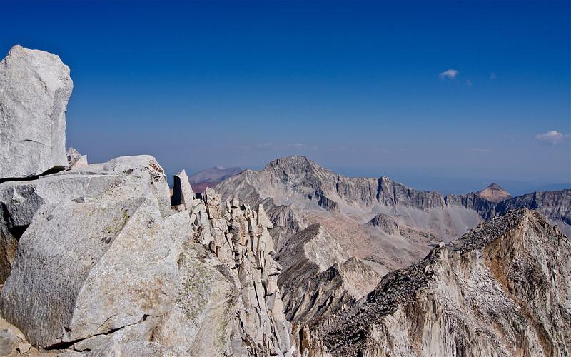 Looking over the north ridge of Snowmass Mountain toward Capitol Peak, Colorado Elk Range.