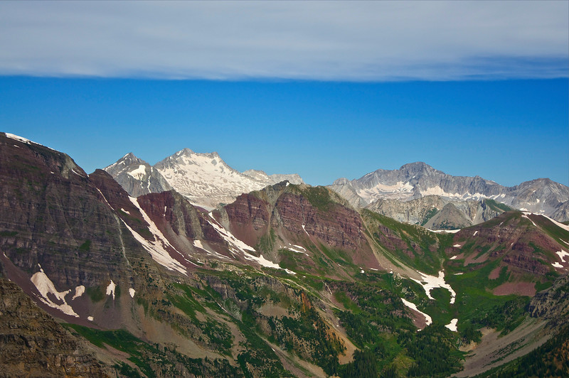 Western Elks Snowmass Mountain and Capitol Peak, viewed from Pyramid Peak's northeast ridge; Colorado Elk Range.