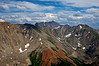 Castle & Conundrum Peaks, viewed from the northeast saddle of Pyramid Peak;  Colorado Elk Range.