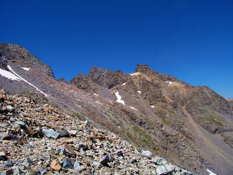 Jagged spires along the northeast ridge to Conundrum and Castle Peaks, Colorado Elk Range