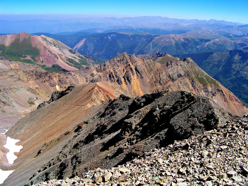 Looking down at the northeast ridge and trail from the Castle Peak summit, Colorado Elk Range.
