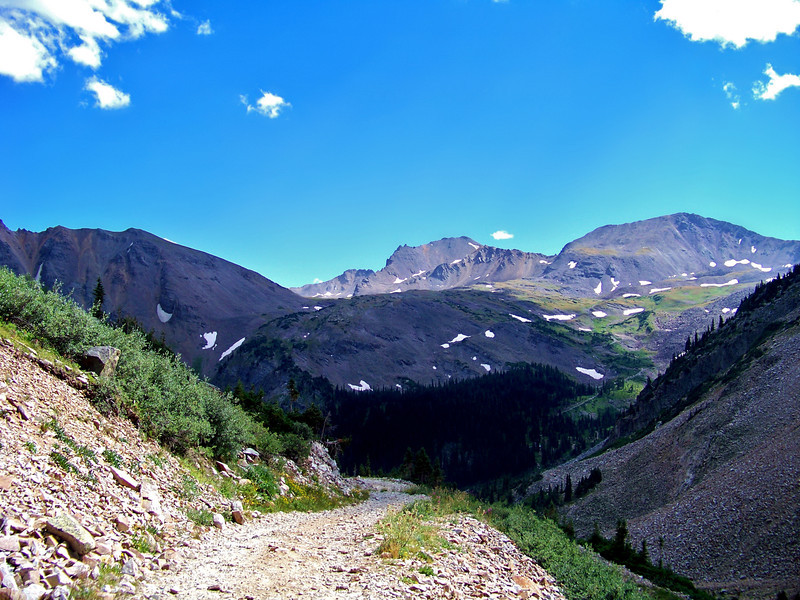 The Pearl Mountains viewed from the Castle Peak trail, Colorado Elk Range.