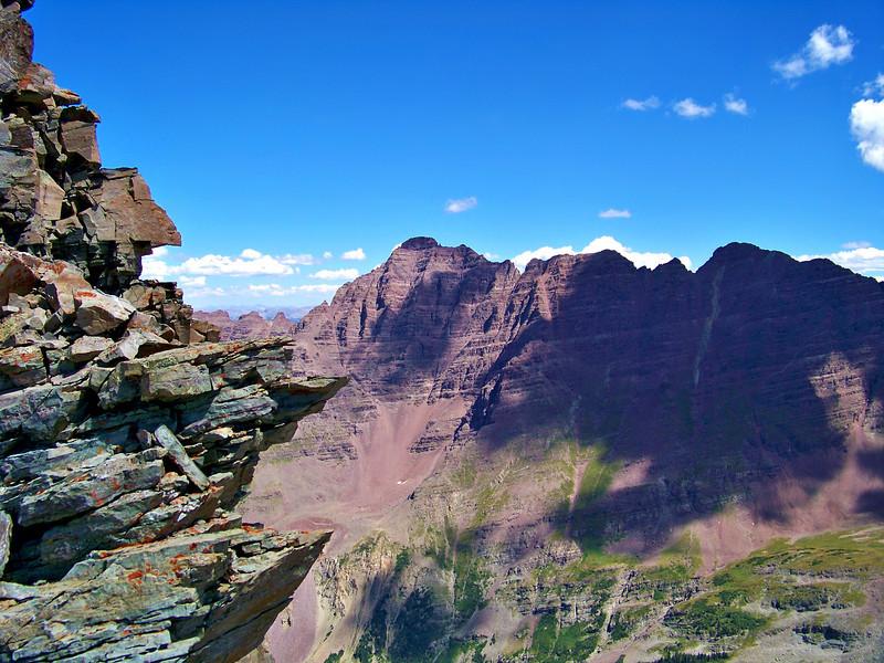 Pyramid Peak provides an impressive view from Maroon Peak's south ridge.