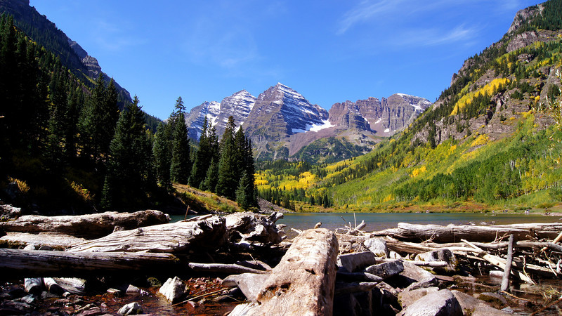 Beaver dam at the east end of Maroon Lake, Colorado Elk Range.