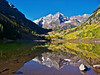 The Maroon Bells autumn reflection #2; Colorado Elk Range.