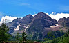 The Maroon Bells in the summer sunlight, Colorado Elk Range