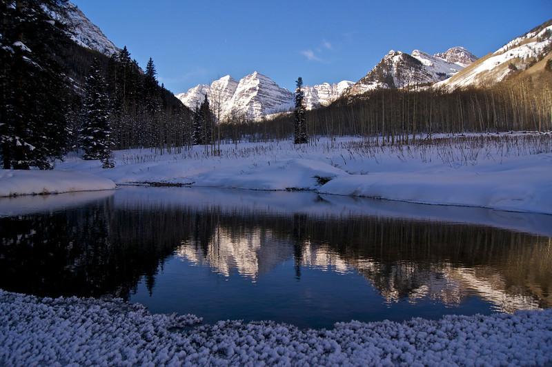 The Maroon Bells winter pond reflection #1; Colorado Elk Range.