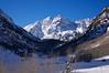 The Maroon Bells in the winter sunlight #2, Colorado Elk Range