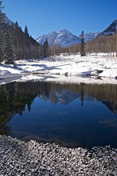 The Maroon Bells winter pond reflection #3; Colorado Elk Range.