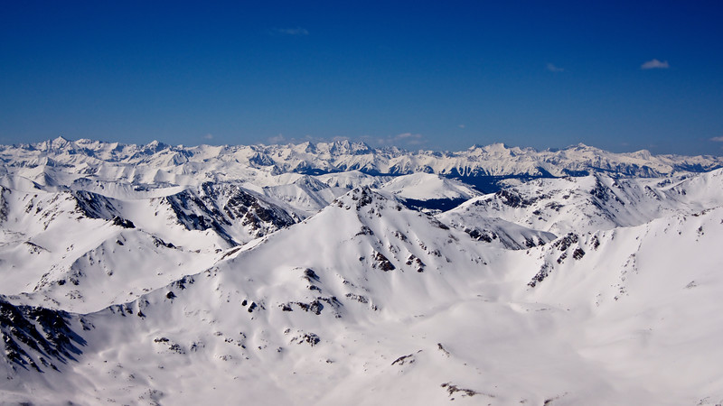 View of the spectacular Elk Mountains in winter from Mt. Elbert's summit,  the top of Colorado!