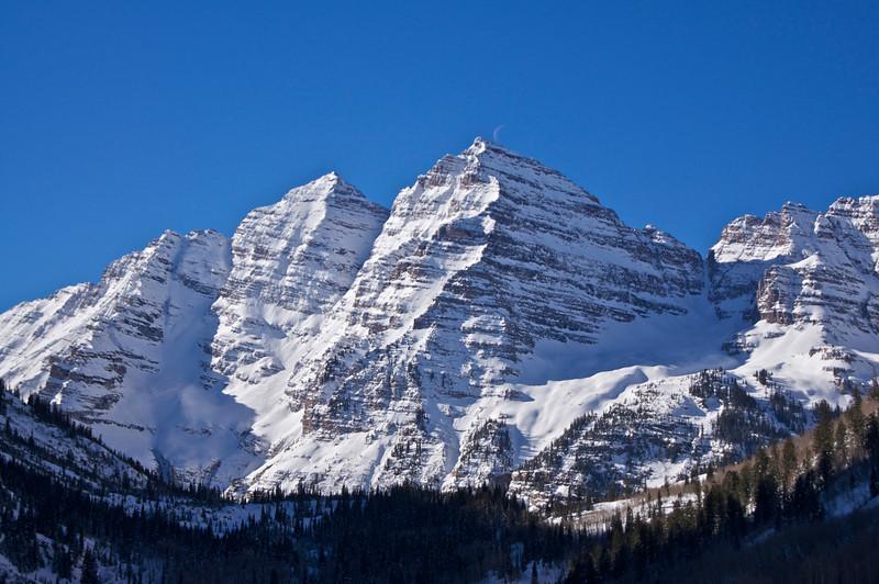 The Maroon Bells in the winter sunlight #1, Colorado Elk Range