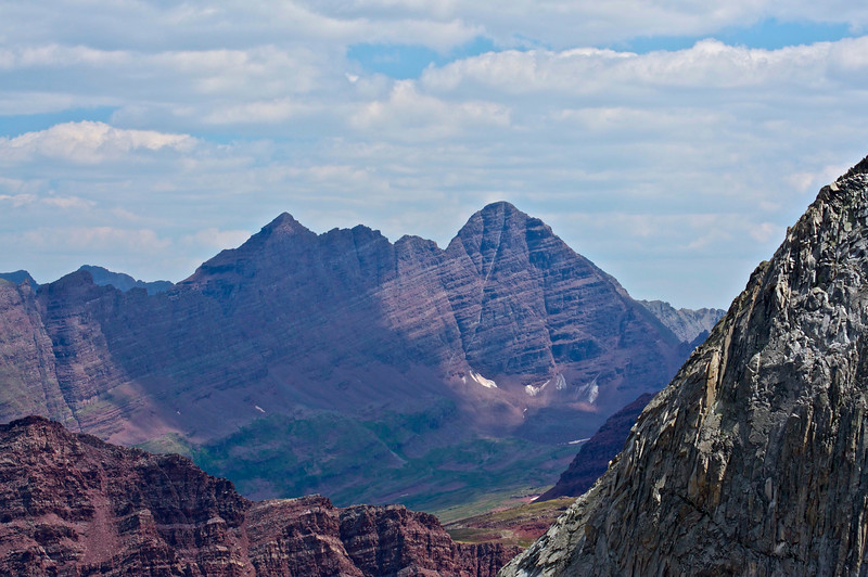 The west face of the famous Maroon Bells viewed from Snowmass Mountain's east slopes; Colorado Elk Range