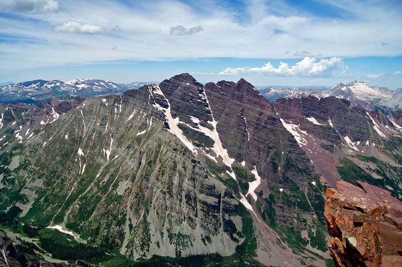 The majestic Maroon Bells, viewed from the summit of Pyramid Peak; Colorado Elk Range.