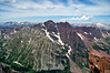 The majestic Maroon Bells, viewed from the summit of Pyramid Peak; Colorado Elk Range.