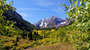 First signs of autumn in the Maroon Bells wilderness, Colorado Elk Range.