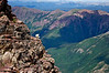 """Called by one climber, """"a Mountain Goat petting zoo,"""" Pyramid Peak is crowded with these nimble, rock-kicking cliff dwellers; Colorado Elk Range."""