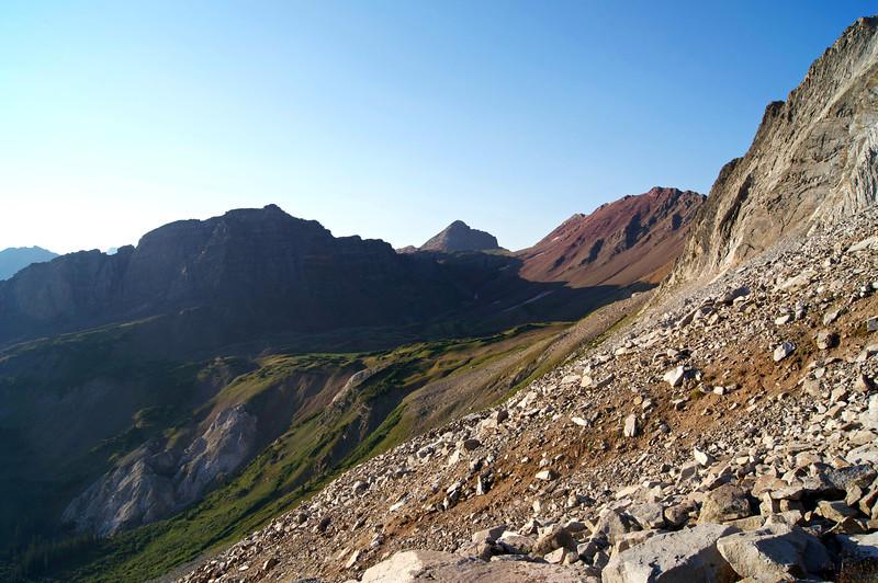 Morning light enhances the colorful landscape on Snowmass Mountian's east slopes; Colorado Elk Range