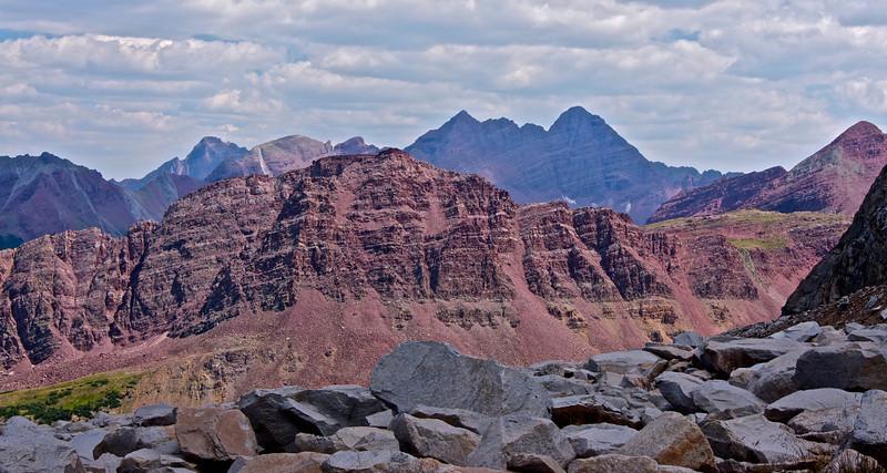 Geological wonders!  Looking east toward the Maroon Bells from the east slopes of Snowmass Mountain; Colorado Elk Range